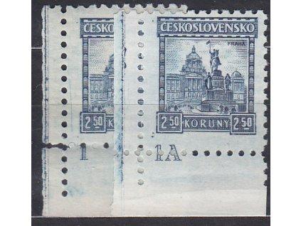 2.50Kč Praha, 2 roh. kusy s DČ 1,1A, Nr.223, **