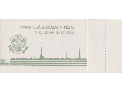 1990, Americká armáda v Plzni, dva kuponky, známky 3x 1Kčs