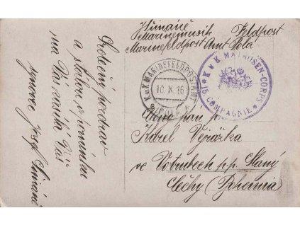 K.u.K.Marinefeldpostamt Pola a, pohlednice zaslaná v roce 1916