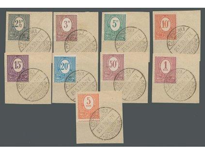Oberschlesien, 1920, 2 1/2Pf-5M série, MiNr.1-9, výstřižky