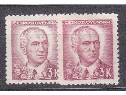 3Kčs Portréty, 2 ks - odstíny barev, Nr.422, **