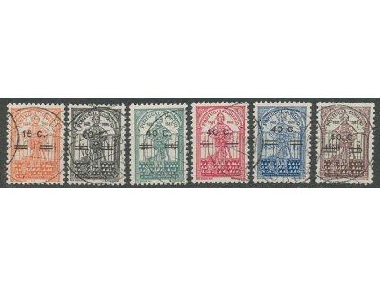 1933, 15C/40C-40C/4.50E série, MiNr.565-70, razítkované