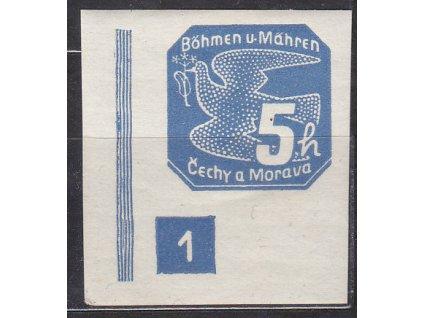 5h modrá, levý roh. kus s DČ 1, široký rám, Nr.NV2, * po nálepce