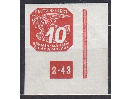 1943, 10h červená, roh. kus s DČ2-43 - přerušený rám, **, vzácná varianta