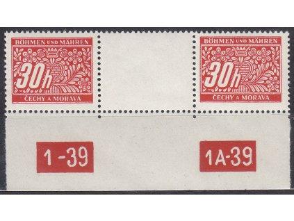 1939, 30h Doplatní, meziarší s DČ1-39-1A-39, Nr.DL4, **