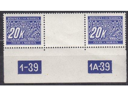 1939, 20K Doplatní, meziarší s DČ1-39-1A-39, Nr.DL14, **