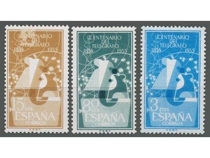 1955, 15C-3Pta série Telegraf, MiNr.1065-67, **