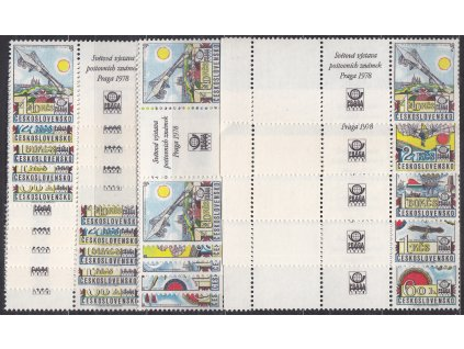 1977, 60h-4.40Kčs PRAGA 78, sestava spojek a kuponů, Nr.L86-90, **