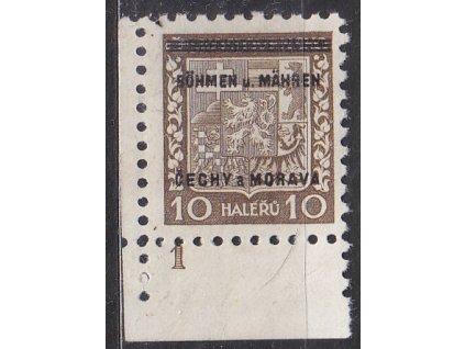 1939, 10h Znak, roh. kus s DČ 1, Nr.2, **