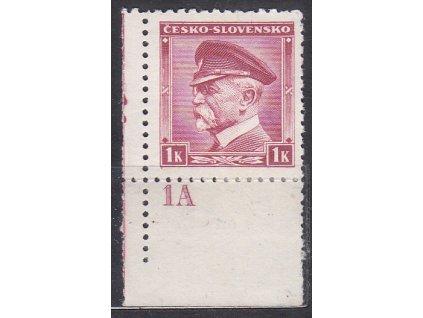 1K Masaryk, roh. kus s DČ 1A - vydání pro přetisk (tečka), * po nálepce