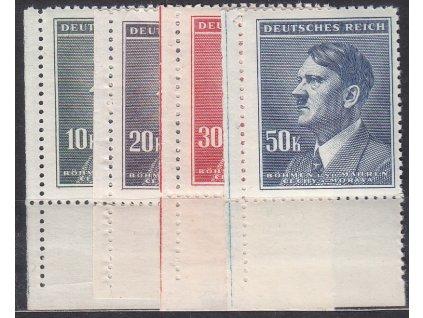 1942, 10-50K Hitler, levé dolní roh. kusy, Nr.96-9, **
