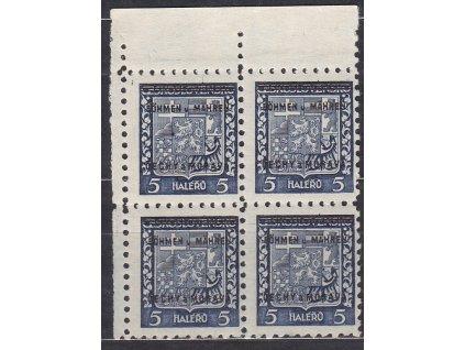 1939, 5h Znak, levý horní roh. 4blok, Nr.1, **