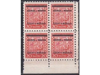1939, 20h Znak, pravý dolní roh. 4blok, Nr.3, **