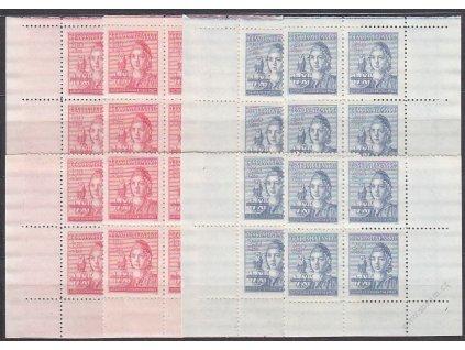 1945, 1.50-2.50Kčs Studenstvo, rohová miniatura ve 4bloku, Nr.429-430, **