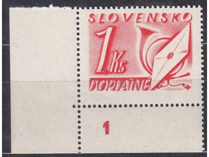 1942, 1Ks červená, roh. kus s DČ 1, Nr.DL30, **