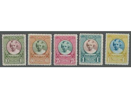 1928, 10C-1 1/2Fr série Kinderhilfe, MiNr.208-12, * po nálepce