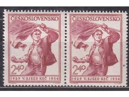 """1954, 2.40Kčs KSČ, DV - skvrna nad prvním """"S"""", 2páska, Nr.771, **"""