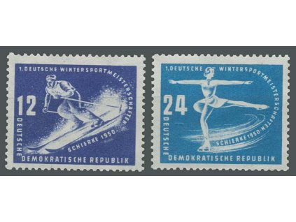 1950, 12-24Pf série Zimní sporty, MiNr.246-47, ** , dv
