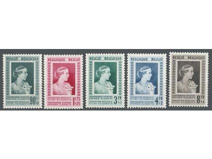 1951, 90C-8Fr série Elisabetin fond, MiNr.909-13, * po nálepce