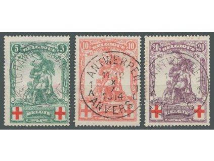 1914, 5-20C série Červený kříž, MiNr.104-6, razítkované, dv