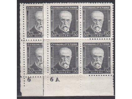 1937, 50h Masaryk, roh. 4bloky s DČ 6 a 6A, Nr.324, **