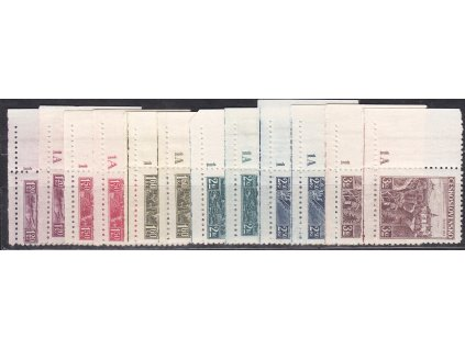 1936, 1.20-3Kč Krajinky, roh. kusy s DČ 1,1A - úzký okraj, Nr.304-309, **/*
