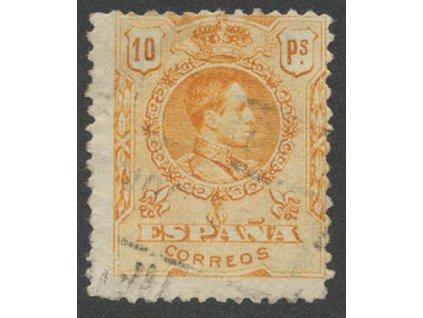 1909, 10 Pta Alfons, MiNr.242C, razítkované, lom v rohu