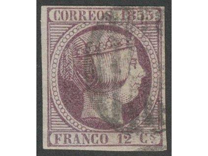 1853, 12 Cs Isabella, MiNr.18, razítkované