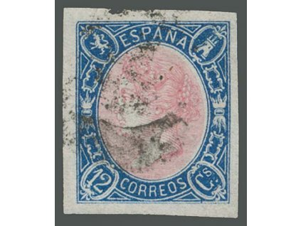 1865, 12 Cs Isabella, MiNr.63, razítkované