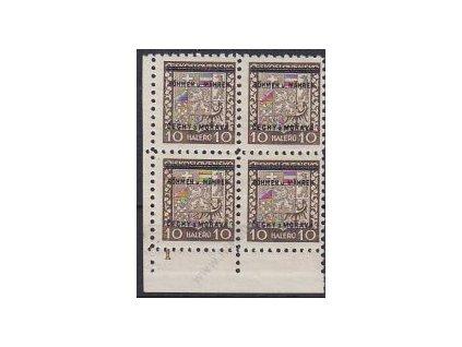 10h Znak. roh. 4blok s DČ 1, Nr.2, * - hoší jakost lepu