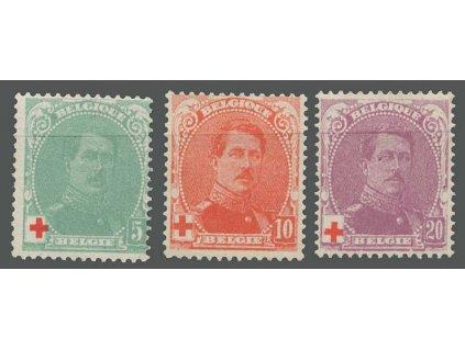 1914, 5-20C série Červený kříž, MiNr.107-9, * po nálepce