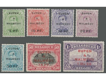 1920, Eupen a Malmédy, 5Pf/5C-1.25Mk/1Fr série, 1-7, různé *
