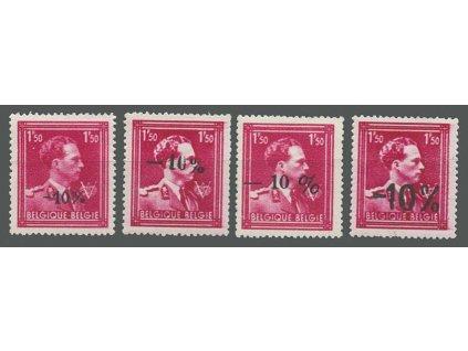 1946, 1.50Fr -10% Leopold, 4 kusy variant přetisku, **