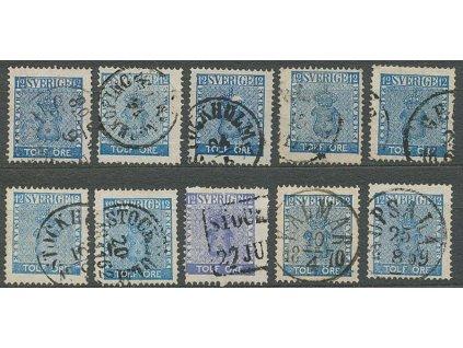 1858, 12 Ö Znak, MiNr.9, razítkované, studijní sestava 10 kusů