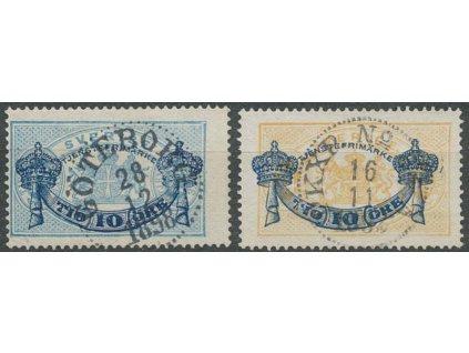1889, 10Ö/12Ö-10Ö/24Ö služební série, MiNr.12-13, razítkované