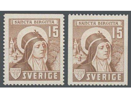 1941, 15 Ö sv. Birgitta, 2 varianty zoubkování, MiNr.288, **