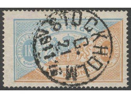 1874, 1 Kr služební, MiNr.11A, razítkované, dv růžek