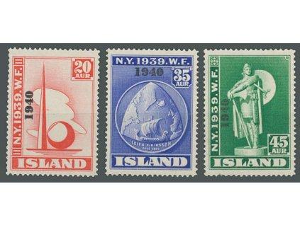 1940, 20A-45A série s přetiskem 1940, Nr.218-220, * po nálepce
