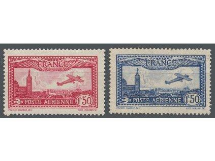 1930, 1.50 Fr letecké, MiNr.251,255, reparované *