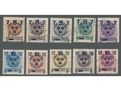 1918, 2-50 Ö přetisková série, MiNr.115-24, razítkované