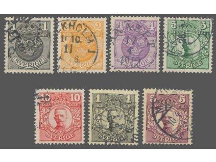 1910, 1Ö-5Kr série, MiNr.57-63, razítkované