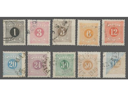 1874, 1Ö-1Kr doplatní sírie, MiNr.1-10B, razítkované, 1Kr lom