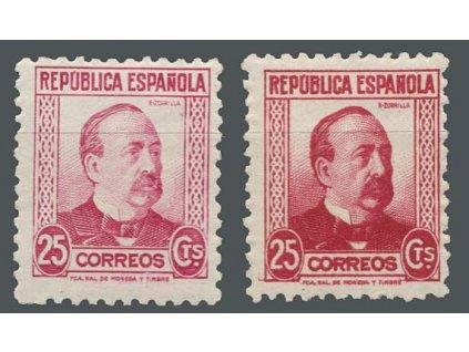 1933, 25 C Zomila, 2 ks - odstíny barev, MiNr.630, * po nálepce