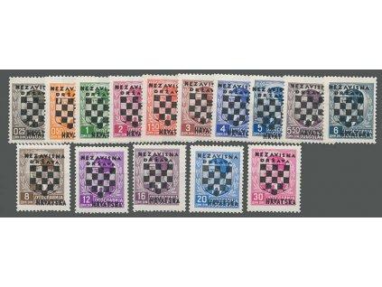 1941, 1.50-30Din přetisková série, MiNr.9-23, ** , 4 Din vada