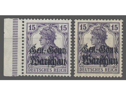 Polsko, 1916, 15Pf Germanie, 2 ks - odstíny, MiNr.12, **