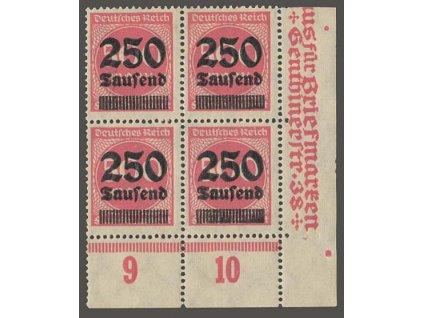 1923, 250 Tsd/500 M, rohový 4blok, MiNr.295, **