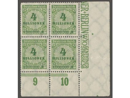 1923, 4 Mio M, rohové 4bloky, MiNr.316A, **