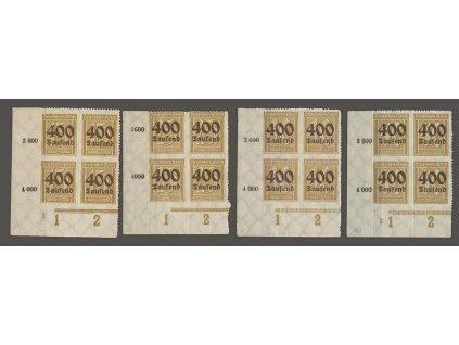 1923, 400 Tsd/15 Pf - 400 Tsd/40 Pf série, rohové 4bloky, **