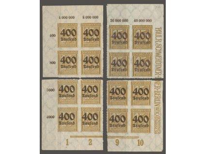 1923, 400 Tsd/25 Pf, rohová miniatura ve 4blocích, MiNr.298, **