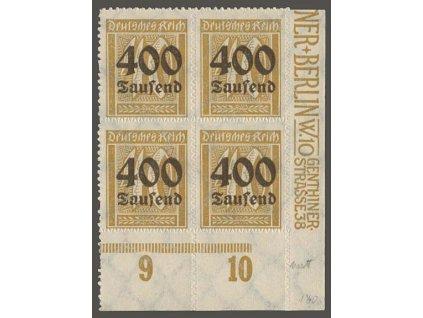 1923, 400 Tsd/40 Pf, rohový 4blok, MiNr.300, **